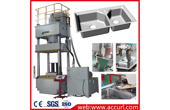 خط إنتاج حوض المطبخ الفولاذي المقاوم للصدأ مع مكبس هيدروليكي بالسحب العميق